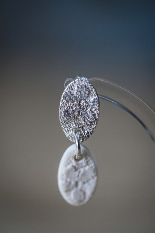 Silver & Porcelain Earrings