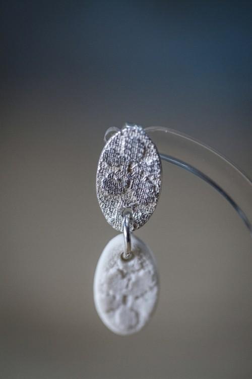 Silver & Porcelain Earrings