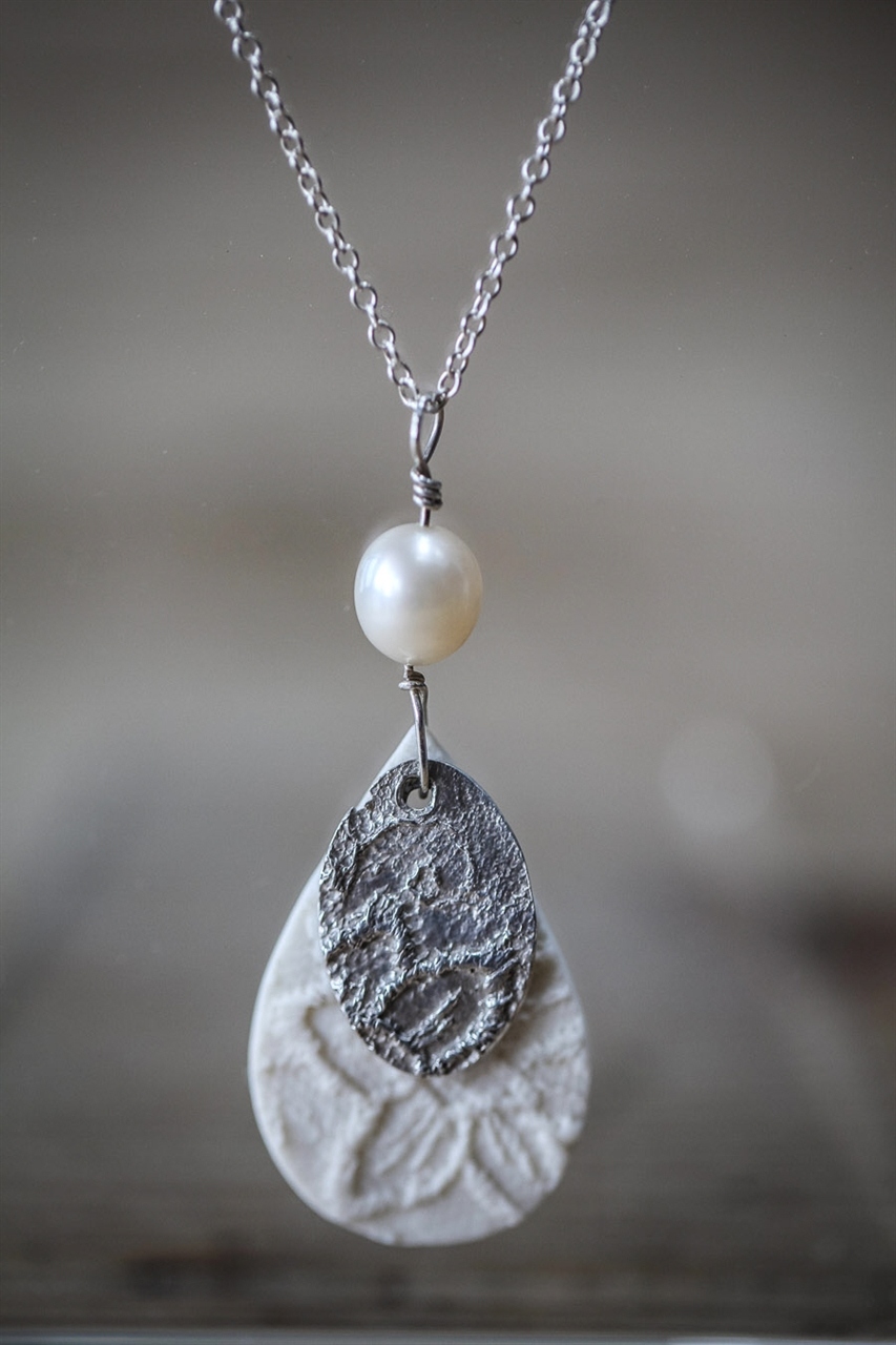 Silver & Porcelain Teardrop Necklace