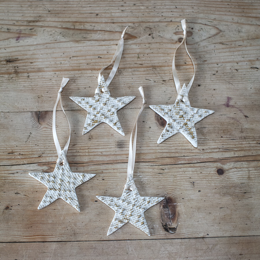 handmade porcelain christmas star decorations